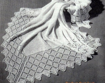 Baby 3ply Easy Knit Shawls in two sizes  36x 36 inches and 52x52 inches - PDF of a Vintage Knitting Pattern Instant Download