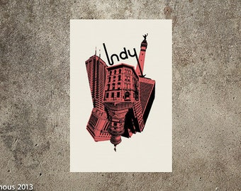 Indianapolis architectural collage poster.