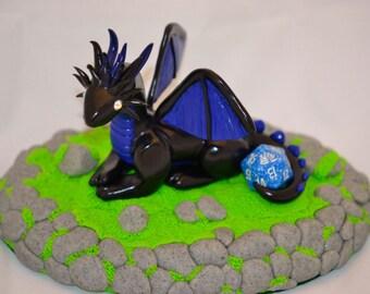 Original Black and Blue Handmade Dragon
