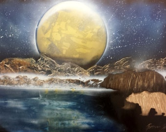 Full Moon- Spray Paint