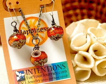 HAPPINESS - Handmade Inspirational Jewelry - Glass Lampwork Pendant Necklace and Earrings