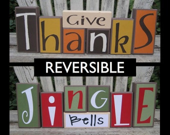Give Thanks Jingle Bells Reversible Holiday Wood Decoration