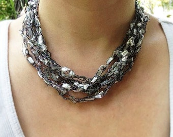 Hand Crochet Jewelry Necklace - Silver