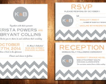 DIY Printable Zig Zags Chevron Wedding Invite Set