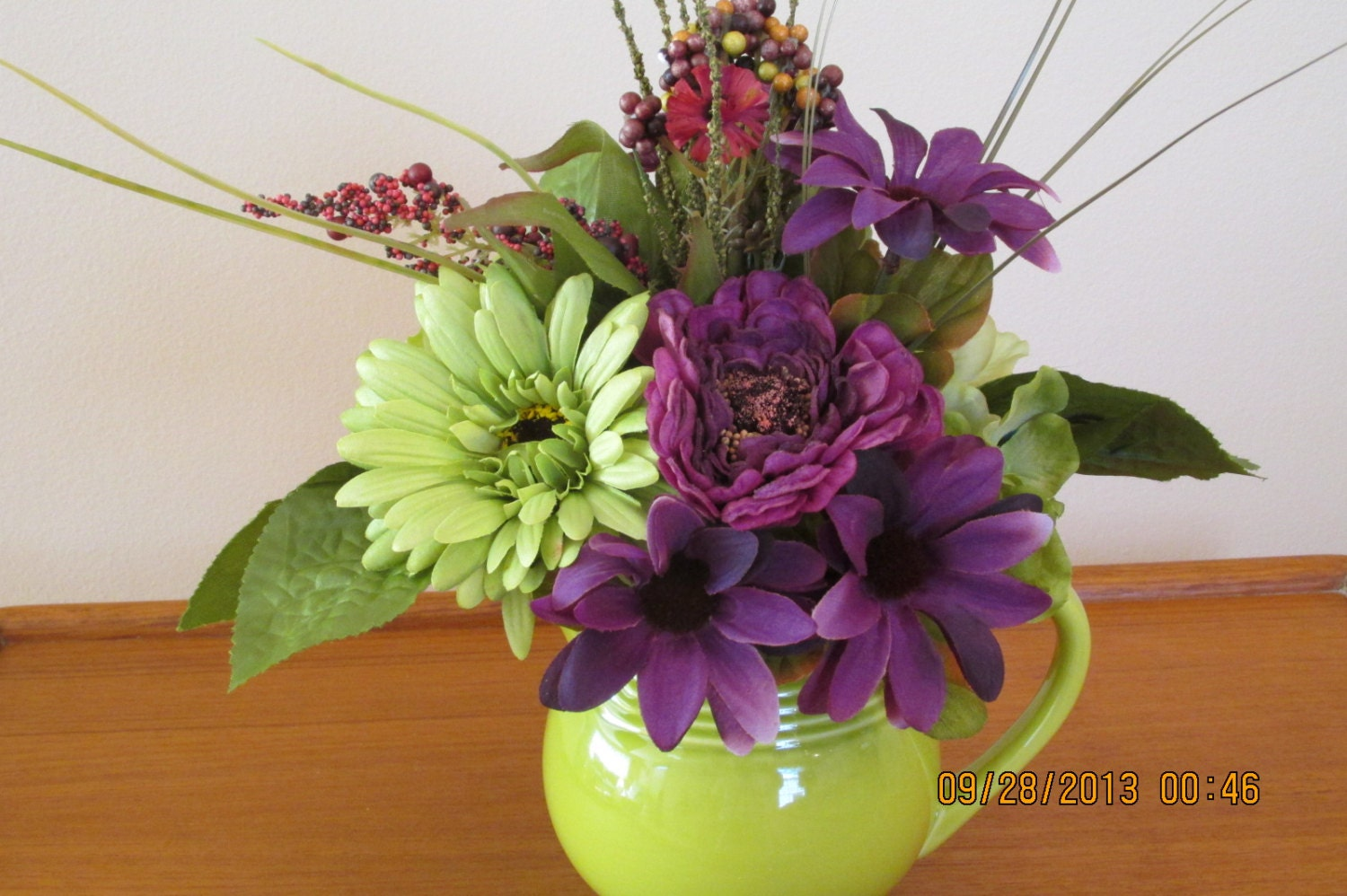 Flower centerpiece lime green flowers purple by silksbysally