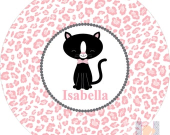 Personalized girls cat and leopard pink plate! A custom, fun and UNIQUE gift idea! Custom colors available!!