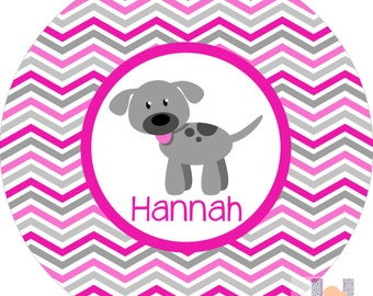 Personalized pink and gray girls chevron dog monogrammed plate! A custom, fun and UNIQUE gift idea! Custom colors available!!