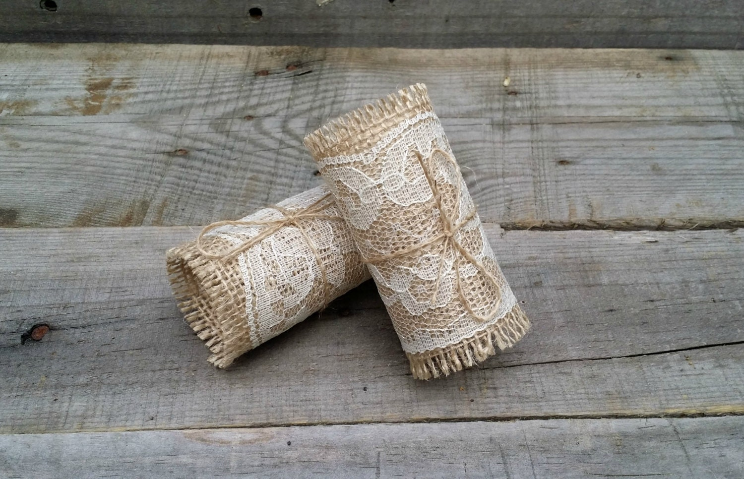 Burlap and Lace Napkin Rings with Twine Rustic Wedding Table