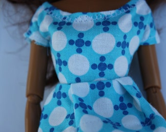 11.5 inch doll clothes - blue and white print top