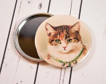 Cat Pocket Mirror, Vintage Cat Pocket Mirror