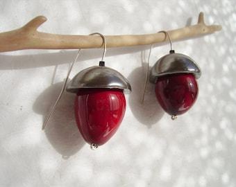 ceramic dangles/ red acorns/ sterling silver