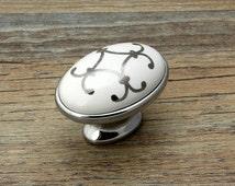 Dresser Knob Drawer Knobs Pulls Handles Silver White Ceramic Cabinet Knobs Door Knob Vintage Furniture Hardware Retro Porcelain Chrome Oval