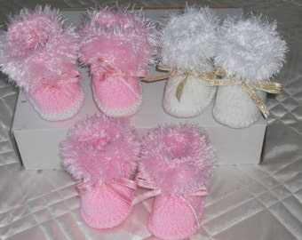 Baby Boots - Baby Booties - Hand Knitted Baby Boots - Hand Knitted Baby Booties - Baby Snow Boots