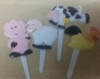 farm animal cupcake picks