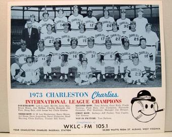 1973 CHARLESTON CHARLIES Team Photo.  IL Triple A  minor league baseball