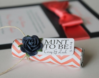 """Personalized """"Mint to be"""" tag with navy roses, decorated your own wedding favors"""