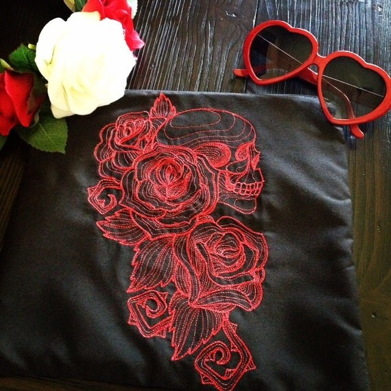 Items similar to skulls and roses embroidered bag pouch