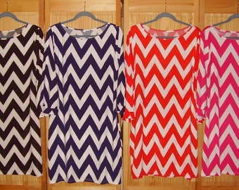 Chevron womens/ladies 3/4 sleeve ladies dresses in s, m, l, or xl