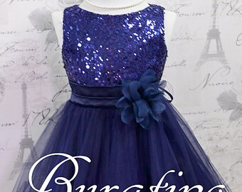 NAVY Sequin Flower Girl  Dress Special Occasion Junior Bridesmaid Pageant Dance Flower Girl Dresses  (ets0155nv)