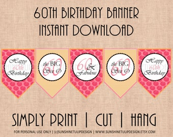60th Birthday Banner Classy Pink Orange Garden Floral and Stripes by SunshineTulipdesign