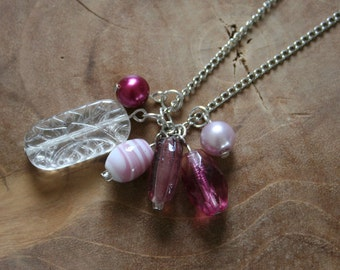 Sweetness - an one of a kind charmnecklace in white en pink. Cute, handmade, unique, ooak, girly, lilac, charm necklace, necklace, charms