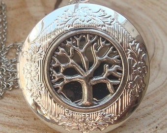 Silver Tree of Life Locket Necklace Victorian Jewelry Gift Vintage Style