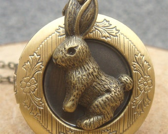 Antique Brass Bunny Locket Necklace Victorian Jewelry Gift Vintage Style