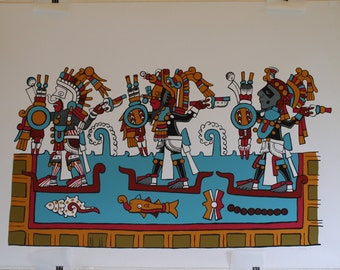 Artist's proof silkscreen by C Vansen of MesoAmerican scene of three warriors, from the Codex Zouche-Nuttall