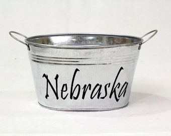 Personalized Galvanized Metal tub with plastic Liner