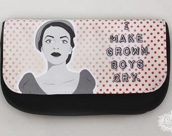 """cute as a button """"I Make Grown Boys Cry - retro woman"""" Case"""