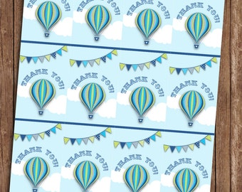Hot Air Balloon Blue Thankyou Tags