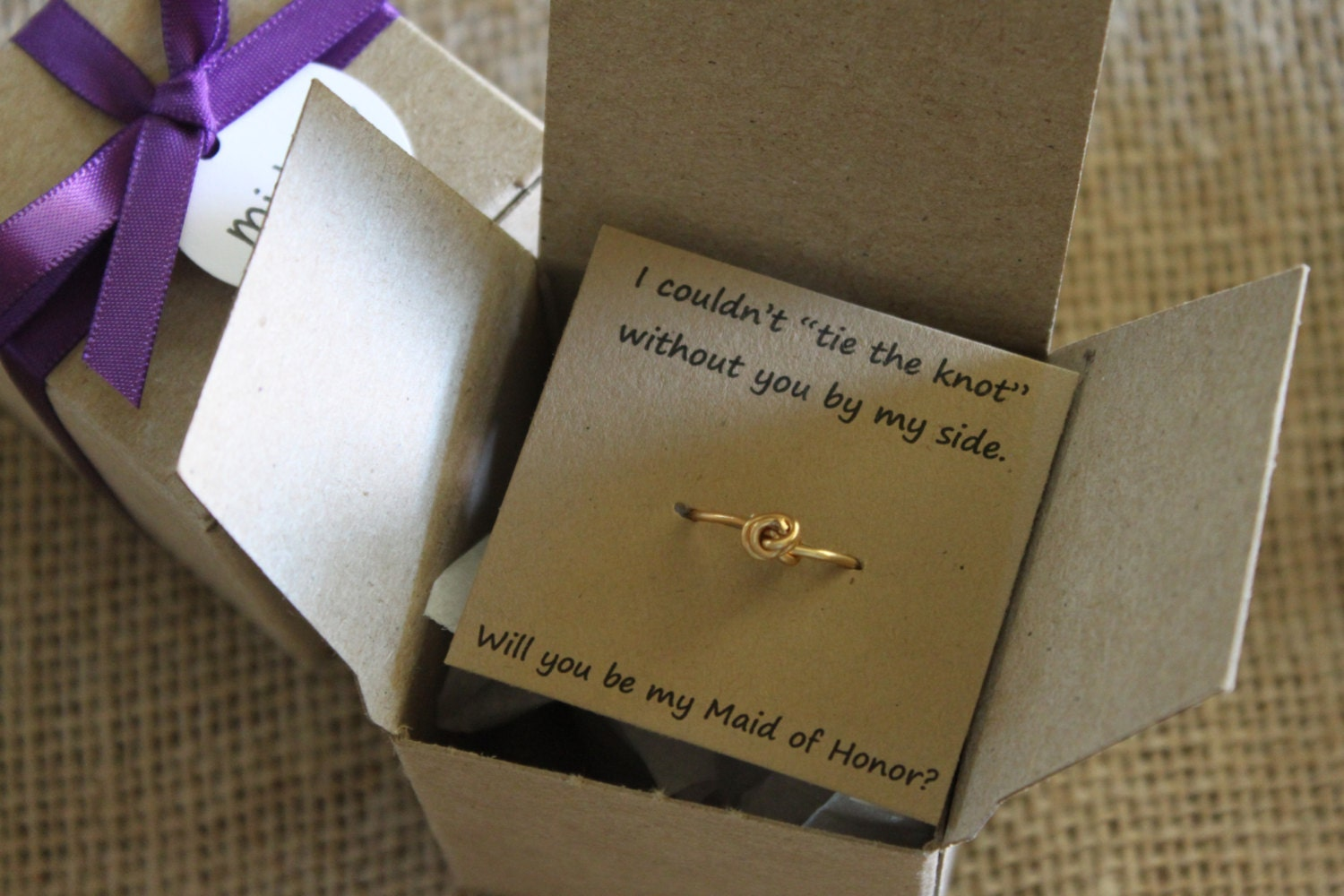 Maid Of Honor Gifts From Bride: Will You Be My Bridesmaid Gift Tie The Knot Ring Maid Of