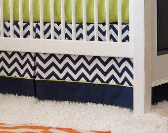"Boy Baby Crib Bedding: Navy and Citron Zig Zag Crib Skirt - 14"" or 20"" by Carousel Designs"