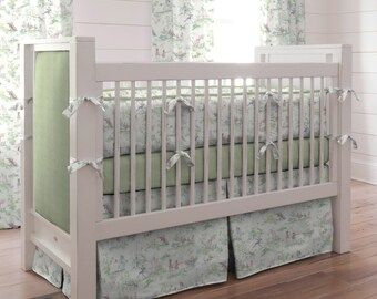 Neutral Crib Bedding, Girl Baby Crib Bedding, Boy Baby Bedding: Nursery Rhyme Toile Sage Crib Bedding - Fabric Swatches Only