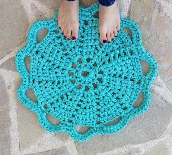 Häkeln Sie Teppich blau grün TShirt Garn Zpagetti