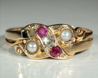 Antique 18k Victorian Diamond Ruby and Pearl Ring Hallmarked Birmingham, 1899