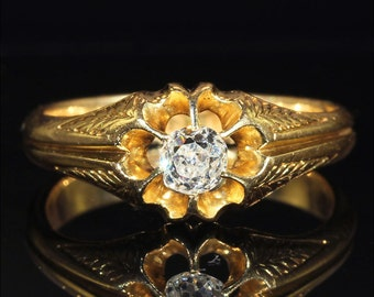 Antique Victorian Diamond Solitaire in 18k Gold, .3ct