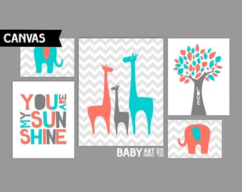 Coral and Turquoise Nursery Canvas art prints, Set of 5, Giraffe, Elephant, Tree, You are my sunshine ( MS002 )