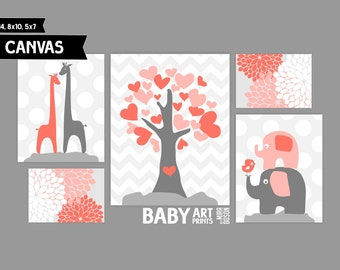 Baby Girl Nursery canvas art prints, Set of 5, Giraffe, Elephant and Bird, Tree ( MS502)