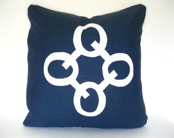Navy Blue and White Pillow - Navy Linen Pillow Cover with White Linen Applique