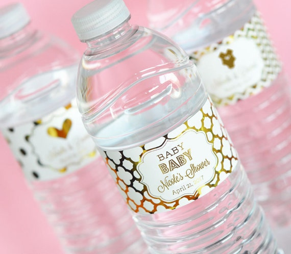 Baby Shower Water Bottle Labels Pink and Gold Baby Shower