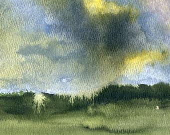 Prairie Storm  Art Print from Original Watercolor   Thunderstorm, Prairie landscape, weather, storming, wall art, gift art, greens, clouds