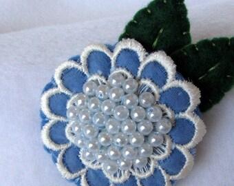 Blue. Flower Pin  Vintage lace Flower  Pearls  Felt Brooch