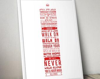 YNWA Lyrics - Liverpool FC Print (White)