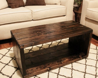 Steel and Pine Wood Box Coffee Table