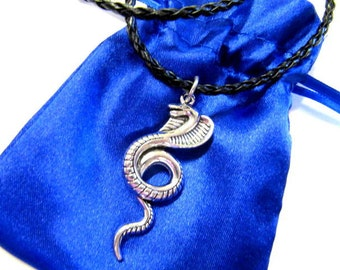 Mayan Pendant Charm, Mayan Glyph, Cobra Snake, Pendant, Necklace, Faux Leather Cord, Gift, Satin Pouch