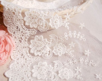 Beatuful Natural and white lace, one yard cotton lace,Accessories,Very cute Natural color lace for your handmade item