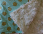 Gold dots Gold Polka Dot Lovey 20 inches x 16 inches Security Blanket, Mint Gold Polka Dot, Minky Blanket,Toddler Security Blanket, Gift