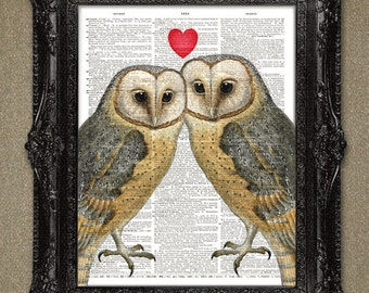 Owls in Love Dictionary Art Print. This would also make for a beautiful and unique valentine gift-valentine dictionary art print.