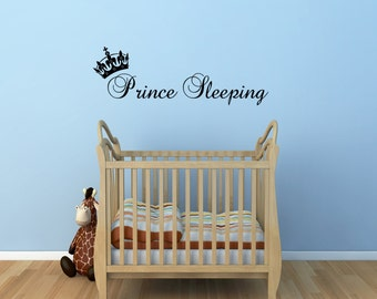 Prince Sleeping Wall Sticker boys bedroom 60x10